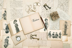 foto of edwardian  - antique accessories old letters and fashion drawings from 1911 - JPG