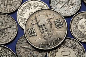stock photo of hangul  - Coins of South Korea - JPG