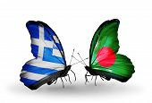 pic of bangladesh  - Two butterflies with flags on wings as symbol of relations Greece and Bangladesh - JPG