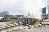 pic of boiling water  - Many house around hot spring water boiling Beppu Oita Japan - JPG