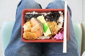 picture of lap  - Japanese bento convenient and ready to eat on lap - JPG
