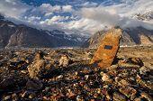 foto of shan  - Dramatic scenic landscape on Engilchek glacier in Tian Shan mountain range in Kyrgyzstan - JPG