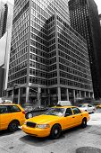 picture of cabs  - Avenue of the Americas 6th Av Manhattan yellow cabs New York city US - JPG