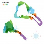 foto of eritrea  - Abstract vector color map of Eritrea with transparent paint effect - JPG