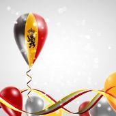 picture of balloon  - Flag of Belgium on balloon - JPG