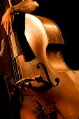 stock photo of bluegrass  - Hand of the musician on the contrabass at the live concert - JPG