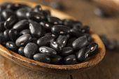 pic of food crops  - Organic Raw Dry Black Beans in a Spoon