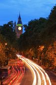picture of london night  - Big Ben and London at night with the lights of the cars passing by the most prominent symbols of both London and England - JPG