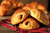 stock photo of french pastry  - French pastry name pain au chocolate - JPG