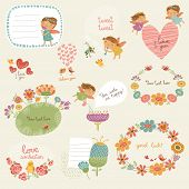 pic of fairies  - Background and patterns with cute fairy with flowers - JPG