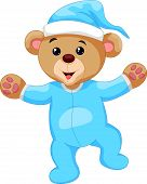 picture of teddy  - Vector illustration of Cartoon teddy bear in blue pajamas - JPG