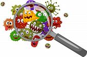 stock photo of microorganisms  - Vector illustration of Cartoon bacteria under a magnifying glass - JPG