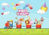 foto of loco  - Vector illustration of Birthday background with happy animal cartoon on train - JPG