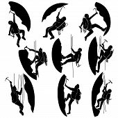 picture of ax  - Set of vector silhouettes alpinists  - JPG