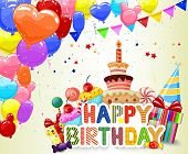 image of birthday hat  - Vector illustration of Birthday background with cartoon colorful balloon and birthday cake - JPG