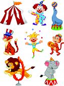 picture of circus clown  - Vector illustration of Cute cartoon set Circus themed - JPG