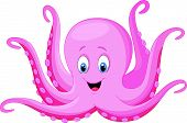 picture of octopus  - Vector illustration of Cartoon happy octopus isolated on white background - JPG