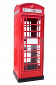 image of phone-booth  - The British red phone booth isolated on white - JPG