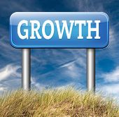 picture of growth  - growth grow market stock or business development profit rise increase  sign with text and word