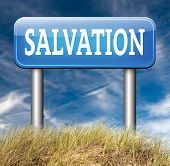 stock photo of jesus sign  - salvation trust in jesus and god to be rescued save your soul road sign with text and word