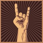 picture of rock star  - Hand in rock sign background - JPG