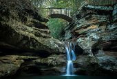 pic of cross hill  - Waterfall with stone bridge crossing over the canyon - JPG