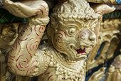 stock photo of hanuman  - Golden statue Hanuman on temple in thailand - JPG