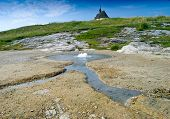 foto of groundwater  - Geyser of mineral water Siva Brada around Spisskie Podhradie Slovakia - JPG
