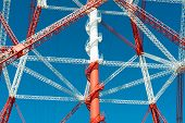 pic of electricity pylon  - Electricity pylon for the alternative energy supply over land - JPG