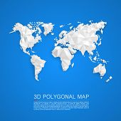 foto of polygon  - Map 3d polygon art map - JPG