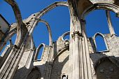 picture of carmelite  - famous Carmo Church ruins after the earthquake in 1755 in Lisbon Portugal - JPG