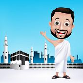 image of muslim man  - Realistic Muslim Man Character Wearing Ihram Cloths for Performing Hajj or Umrah Pilgrimage in Kaaba in Makkah with Black Stone in Background - JPG