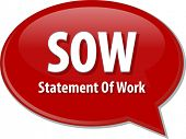 image of statements  - word speech bubble illustration of business acronym term SOW Statement of Work - JPG