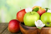 image of apple blossom  - Fresh apples with apple blossom in bowl - JPG
