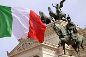 stock photo of emanuele  - The Piazza Venezia Vittorio Emanuele Monument for Victor Emenuel II in Rome Italy - JPG