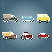stock photo of ambulance car  - set of color icons with car icons for your design - JPG