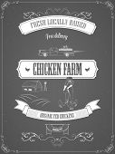 stock photo of farm  - Chicken Farm Vintage Advertisement Vector Poster - JPG