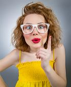 stock photo of clever  - Young funny woman have idea clever girl - JPG