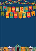 picture of church  - Latin American holiday the June party of Brazil bright night the background with colonial houses church lights and colored flags and the words in Portuguese Festa Junina - JPG