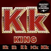 image of letter k  - Vector luxury chic alphabet of gold and ruby letters - JPG