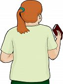 foto of ponytail  - Isolated cartoon of woman in ponytail holding a book - JPG