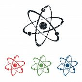 pic of atom  - Colored grunge icon set with image of atom - JPG
