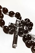 foto of crucifix  - Catholic rosary with crucifix on white background - JPG