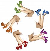 picture of shoes colorful  - legs and feet of a woman with colored shoes in circle on white background - JPG