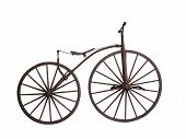 stock photo of path  - Old bicycle with wooden wheels isolated on white background with clipping path - JPG