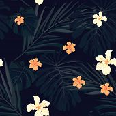 image of hawaiian flower  - Summer colorful hawaiian seamless pattern with tropical plants and hibiscus flowers - JPG