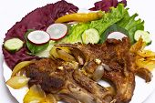 stock photo of lamb chops  - Barbeque lamb chops with Vegetables  - JPG