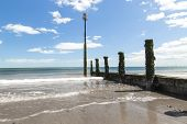 pic of sea-scape  - Shot of a beach on a sunny day looking out to the sea - JPG