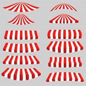 picture of tent  - Set of Red White Tents on Grey Background - JPG