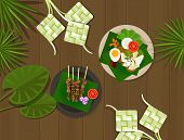 stock photo of fitri  - ketupat lebaran idul fitri ied table food indonesia vector - JPG